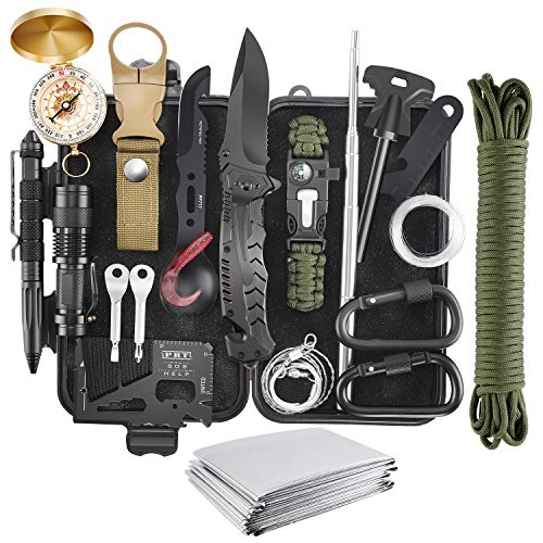 Emergency Survival Kit, 22 in 1 Professional Survival Gear Equipment Tools First Aid Supplies for SOS Emergency Tactical Hiking Hunting Disaster Camping Adventures