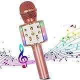 Micrófono inalámbrico de karaoke, Micrófono de karaoke Bluetooth 4 en 1 Reproductor de karaoke portátil de mano con luces LED de baile Compatible con dispositivos Android e iOS para el hogar KTV