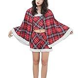 QINQI Disfraz De Navidad para Mujer, Disfraz De ActuacióN En El Escenario, Disfraz De Navidad A Cuadros Rojos (Sombrero De Navidad + Vestido De Navidad)