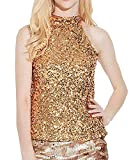 Women Tank Tops Solid Color Sexy Casual Turtleneck Blouse Sleeveless Shimmer Flashy All Sequins Embellished Sparkle Vest (Gold)