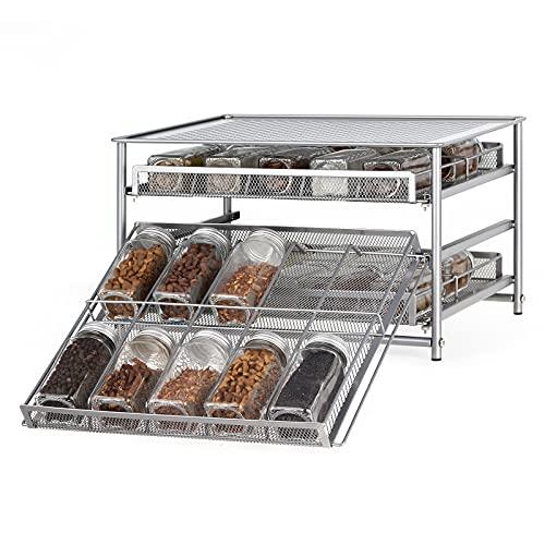 Gewürzregal, 3 Etagen Gewürzständer, Ausziehbar Küchenregal mit 30 Körben Gewürze Organizer für Küche, Kitchen, Küchenschrank, Silber