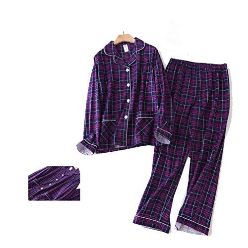 Conjunto de Pijama Botón de patrón a Cuadros Cómodo Manga Larga Interior Camisón Simple e Informal Comodidad Albornoz Diario