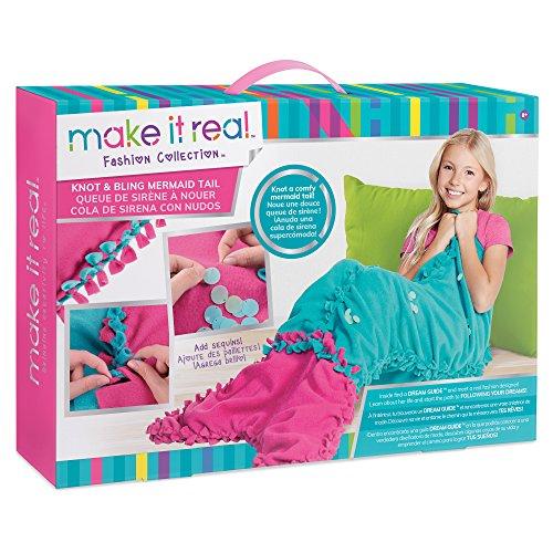 Make It Real Knot & Bling Mermaid Schwanz Decke. Educational DIY Kunsthandwerk Kit Guides für Kinder erstellen geknotete Fleece & Pailletten Mermaid Schwanz Wearable Blanket