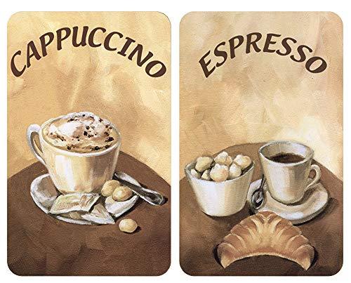 Wenko 2er-Set Herdabdeckplatten Espresso/Cappuccino Espresso/Cappuccino Dekor