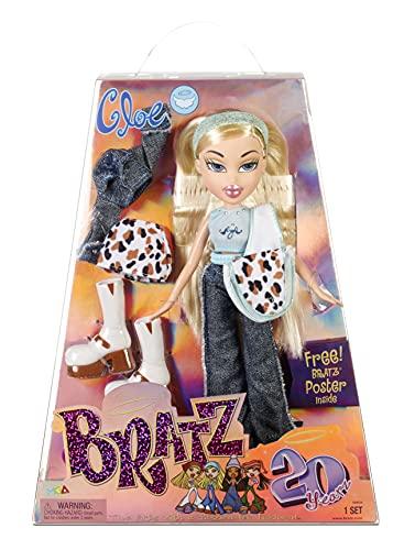 Bratz Edición Especial 20 Años Muñeca de Moda Original Cloe - Caja holográfica y póster - Coleccionable - Réplica de la versión de 2001 - Incluye 2 Vestidos, Zapatos, Bolso y más