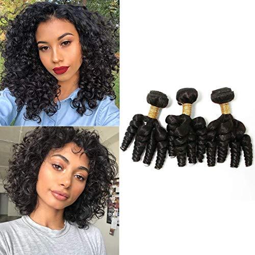 BLISSHAIR Brasilianisches Funmi Human Hair 3 Bundles Kurze Funmi Lockige Webart Loose Wave Hair Haarbündel Spiral Bouncy Curls Weft Remy Brazilian Haarverlängerungen Natürliche Farbe (10