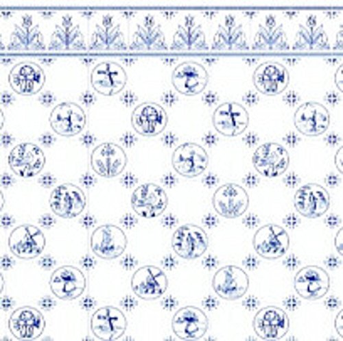Melody Jane Puppenhaus Blau Weiß Delft Dutch Tile Miniatur Druck 1:24 Maßstab Tapete
