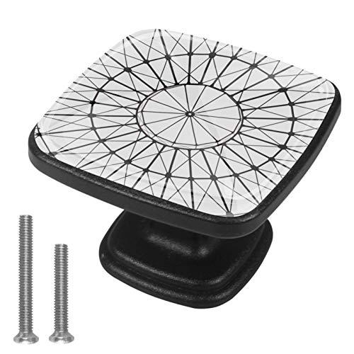 Juego de 4 pomos cuadrados para cajones, tiradores de gabinete, tiradores de puerta con tornillos para muebles de armario, geometría circular