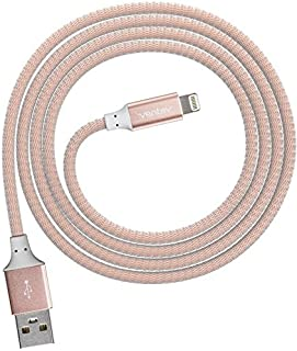Ventev ChargeSync Alloy Apple Lightning Cable | Universally Compatible with iPhone Devices Fast Charging, Tangle-Resistant Cord, Mfi Certified, Designed for Cases | 4Ft Rose Gold