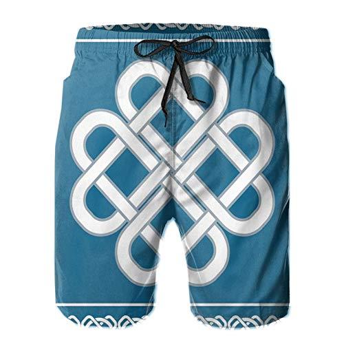 Men's Swim Trunks Quick Dry Beach Shorts with Pockets Celtic Love Knot Good Fortune Symbol Framework Border Historical Amulet Design Theme XXL