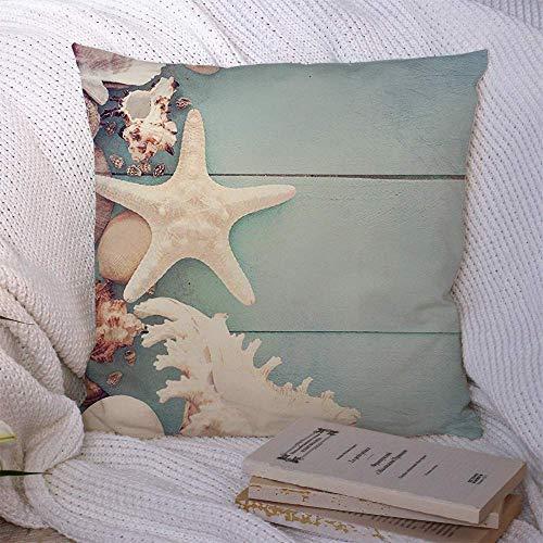 N\A Dekorative Kissenbezüge für Schlafsofa Couch Green Beach Sommerzeit Seil Fisch Star Aquamarin Natur Beauty Board Bobber Seestern Boje Celadon Soft Kissenbezug