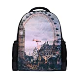 QMIN Mochila London Big Ben Ferri Wheel School Bookbag de impresión de un solo lado de viaje de la universidad senderismo camping mochila de hombro organizador para niños niñas mujeres hombres