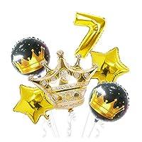 バルーン 7個の大型5点王女ゴールドクラウンシルバーナンバーホイルバルーンお誕生日おめでとうパーティーの装飾 (Color : Gold 7)