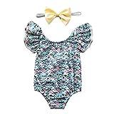 Neugeborenes Baby Mädchen EIN Stück Glitter solide Badeanzug rückenfreie Halfter Rüschen...