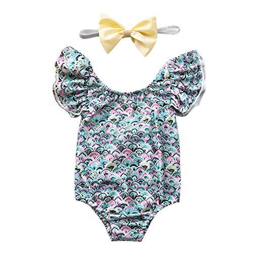 Neugeborenes Baby Mädchen EIN Stück Glitter solide Badeanzug rückenfreie Halfter Rüschen Beachwear Badeanzug (Grün, 6-12 Monate/80)