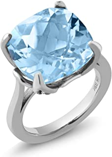 Sterling Silver Sky Blue Topaz Women's Ring 9.18 cttw Cushion Checkerboard Cut Gemstone Birthstone (Available 5,6,7,8,9)