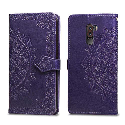 Bear Village Hülle für Xiaomi PocoPhone F1, PU Lederhülle Handyhülle für Xiaomi PocoPhone F1, Brieftasche Kratzfestes Magnet Handytasche mit Kartenfach, Violett