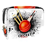 Cricket Hitting Wicket Stumps con murciélago negro Splash fondo PVC Cosméticos Bolsas de maquillaje práctico bolsa organizador cremallera artículos de tocador bolsa para mujeres viajes baño