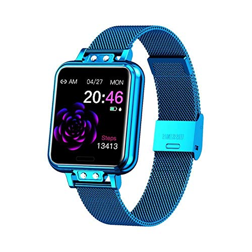 LYB Reloj inteligente para mujer, acero inoxidable, pantalla a color, con frecuencia cardíaca, presión arterial, salud femenina y notificaciones (color: azul)