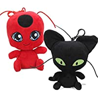 Lodestar 2 Unids/Set Ladybug Cat Plagg Tikki Noir Peluches Lady Bug Adrien Marinette Peluche Animal ...