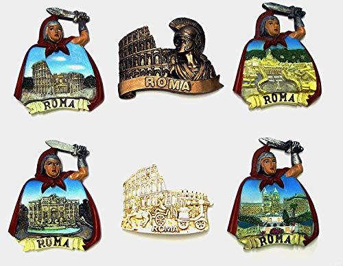 Composizione 4D - 6 Pezzi di Calamite Magnete per FRIGO Souvenir di Italia Roma Souvenir from Italy Rome
