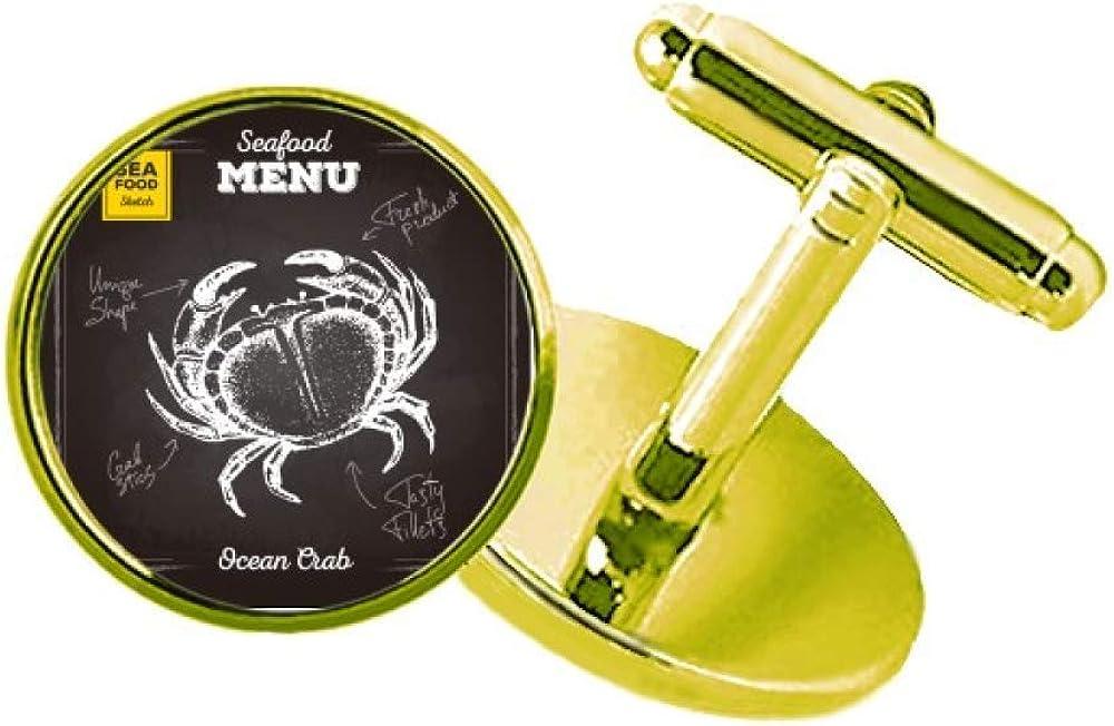 Crab Sketch Regular store Pattern Marine Organism Cuffl Studded Max 80% OFF Metal Business