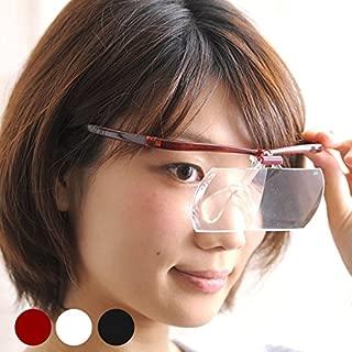 双眼メガネルーペ メガネタイプ 1.6倍 2倍 レンズ2枚セット HF-60DE※このページは「ワインレッド」のみの販売です◆ワインレッド