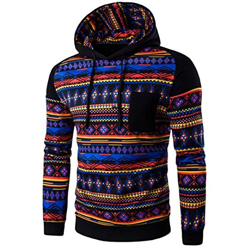 WOCACHI Herren Kapuzenpullover Männer Bohemian Retro Langarm-Kapuzenshirt mit Kapuze Sweatshirt Tops Jacken-Mantel Outwear Dunkelgrau (L, Schwarz)