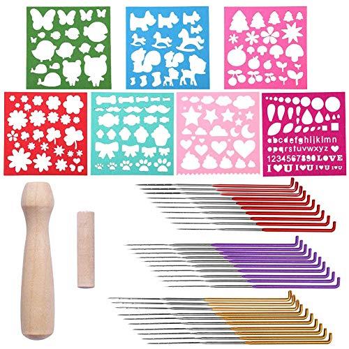 Riddur 41 Stücke Filznadeln Set, 3 Größen Bunte Filzen Nadeln mit 7 Arten Wollfilz Form, Holzgriff und Nadel Aufbewahrungsflasche für Nadelfilzen Trockenfilzen