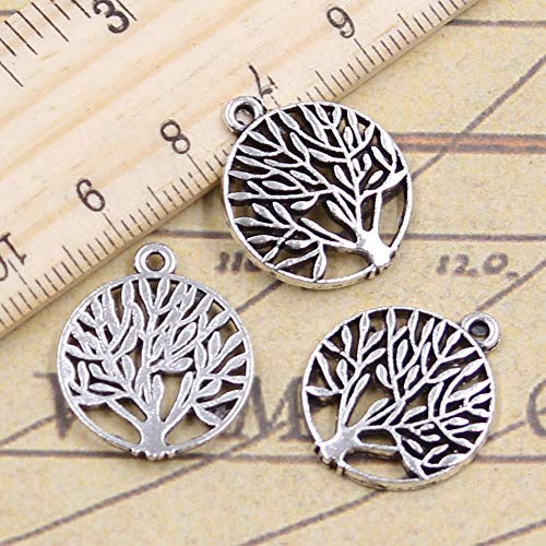 WANM 20Pcs Charms Peace Tree 21X18Mm Tibetan Bronze Silver Color Pendants Crafts Making Findings Handmade Antique Diy Jewelry