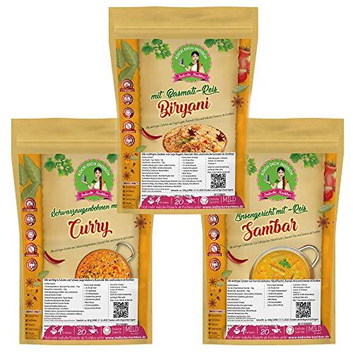 Indische Gerichte Kochbox - Biryani Reisgericht, Bohnen Curry, Sambar Linsengericht - Vorportionierte Zutaten wie Dal (indisches Hülsenfrucht), Basmati-Reis, Gewürze als 3er SET ca. 1,3 Kg