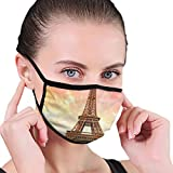 Comfortable Windproof mask,Eiffel Tower Colorful Sky Grass Nature European Clouds Photography Artistic,Printed Facial decorations for Women and Men