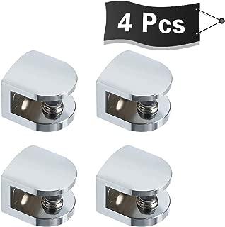 Alise 4 Pcs Adjustable Frameless Rectangle Glass Shelf Bracket Holder Heavy Duty Clamp Shelf Clip,BL1012-4P Polished Chrome