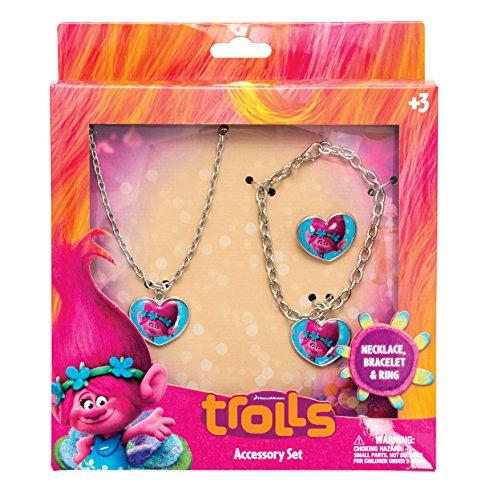 Joy Toy 65176 Trolls Poppy Armband/Ketting en Ring Metalen Sieraden Set in Geschenkverpakking