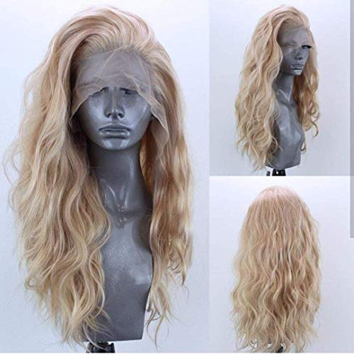 Elesty Long Natural Curly T-Part Lace Front Wig Gloden Blonde Synthetic Lace Front Wigs for Women Left Part Glueless Heat Resistant Fiber Hair Daily Party Wig
