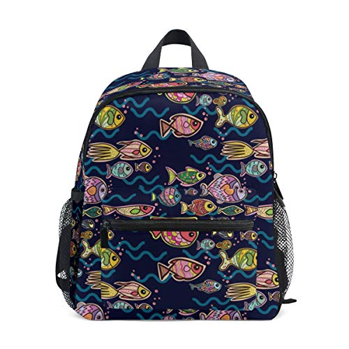 Chic Houses Free Fish Wave Bubble School Bag Bookpack Funny Graffiti Undersea World Pattern Casual Daypack Kids Elementary Bag Travel Outdoor Backpack for Boys Girls 2030476