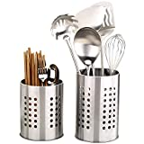 2 Pcs Kitchen Stainless Steel Cooking Utensil Holder, Stainless Steel Rust Proof Large Kitchen Utensil Organizer Flatware Caddy for Organize Drawers and Countertops for All Kitchens