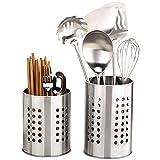 2 soportes para utensilios de cocina de acero inoxidable, a prueba de óxido, organizador de utensilios de cocina grande para organizar cajones y encimeras para todas las cocinas