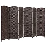 Best Choice Products 70x118in 6-Panel Diamond Weave Wooden Folding Freestanding Room Divider Privacy Screen for Living Room, Bedroom, Apartment w/Two-Way Hinges, Dark Mocha