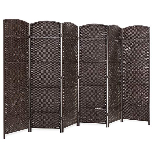 Best Choice Products 6ft Tall 6-Panel Diamond Weave Wooden Folding Freestanding Room Divider Privacy Screen for Living Room, Bedroom, Apartment w/Two-Way Hinges, Dark Mocha