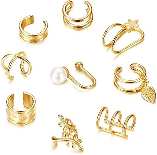 Milacolato - 9 piezas Pendientes de brazalete de Oreja Para Mujer, Pendientes de Puño Helicoidal, Puños de Cartílago Falso, Pendientes Huggie Hipoalergénicos