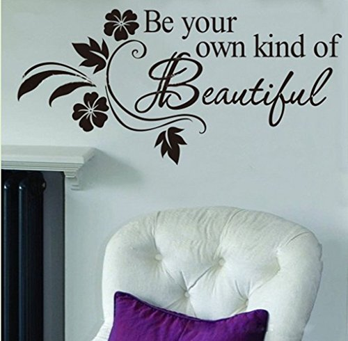 Picniva Be Your Own Kind of Beautiful Decals Flower Vine Wall Sticker 11#039#039 X 22#039#039 Black