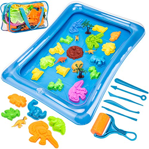 Sandbox Mold Tool Toys - 35PCS Sand Mold Tools Kit, Dinosaur Molds, Dinosaur Toys, Sand Tools, Sand Tray and Storage Bag, Sandbox Sand Toys for Boys, Kids, Toddlers, Compatible with Any Play Sand