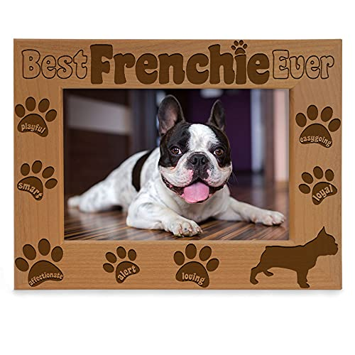 KATE POSH Best Frenchie Ever Engraved Natural Wood Picture Frame, French Bulldog Photo Frame, Pet Memorial Gifts, New Puppy Gifts, Dog Lover Gift, Paw Prints on my Heart (4x6 Horizontal)