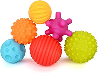 Baby Ball Set 6 Packs, Textured Multi Sensory Balls Set Develop Baby's Tactile Senses Toys for Infant Bath and Beach