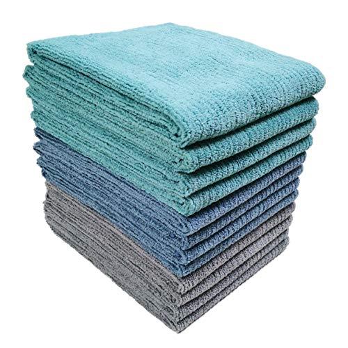 Polyte - Premium-Küchentuch aus Mikrofaser - geripptes Frottee - Blau/Grau/Blaugrün - 40,6 x 71,1 cm - 12 Stück