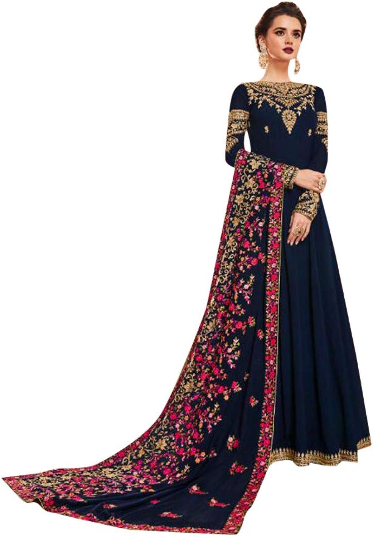 Navy bluee Long Abaya Anarkali Muslim Suit Floral Dupatta Party Wear 7490