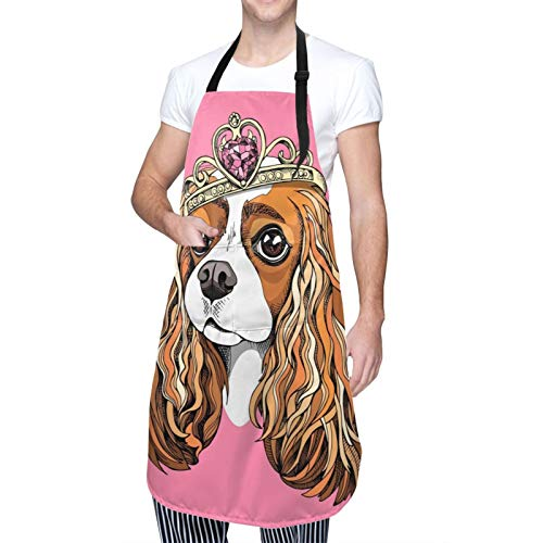 GIKIM Adjustable Kitchen Apron Waterproof with Pockets,Charles Hound Bib Chief Aprons for Cooking Restaurant Work BBQ Gardening Craft Painting Baking for Christmas Stocking Stuffer
