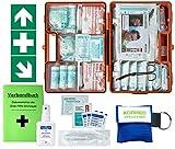 Erste-Hilfe-Koffer M2 PLUS für Betriebe ab 50 Mitarbeiter DIN/EN 13169 -Paket 1- incl. 3 AUFKLEBER & Verbandbuch & Hygiene-Ausstattung