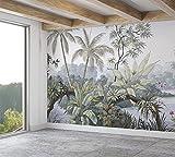 SILK ROAD EU™ Papier Peint Panoramique Jungle Soie, 410 x 280 cm, Poster Geant Mural, Personnalisé 3D, pour Salon Chambre d'enfants restaurant Décoration Murale. Aquarelle Plantes, Lac Tropical